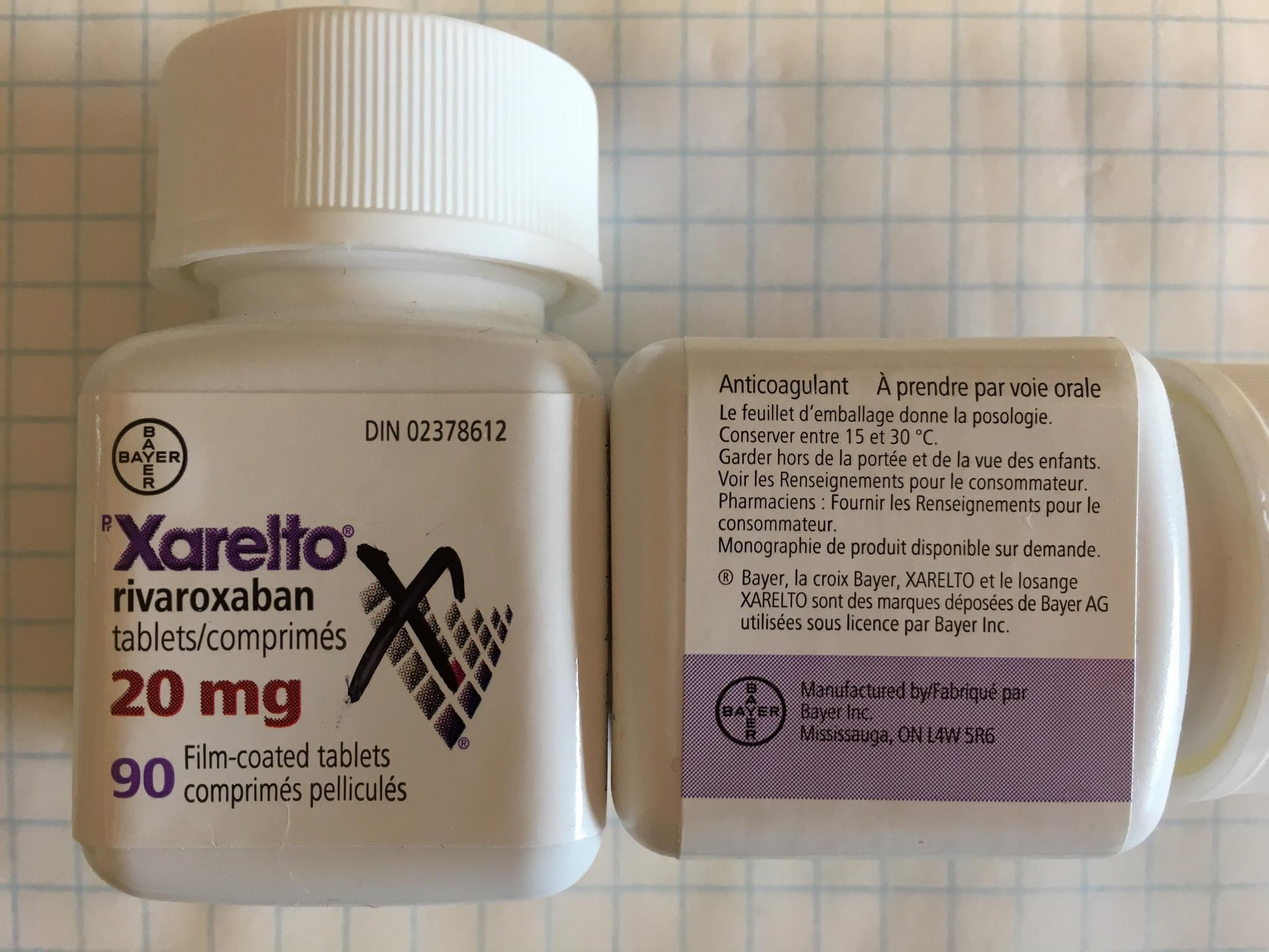 Canadian Xarelto 20 mg bottle