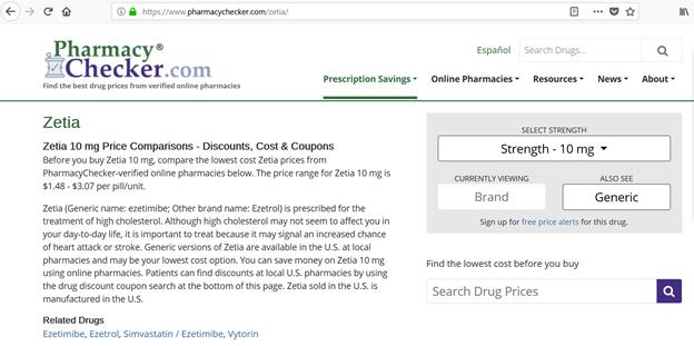 pharmacychecker.com Zetia drug page